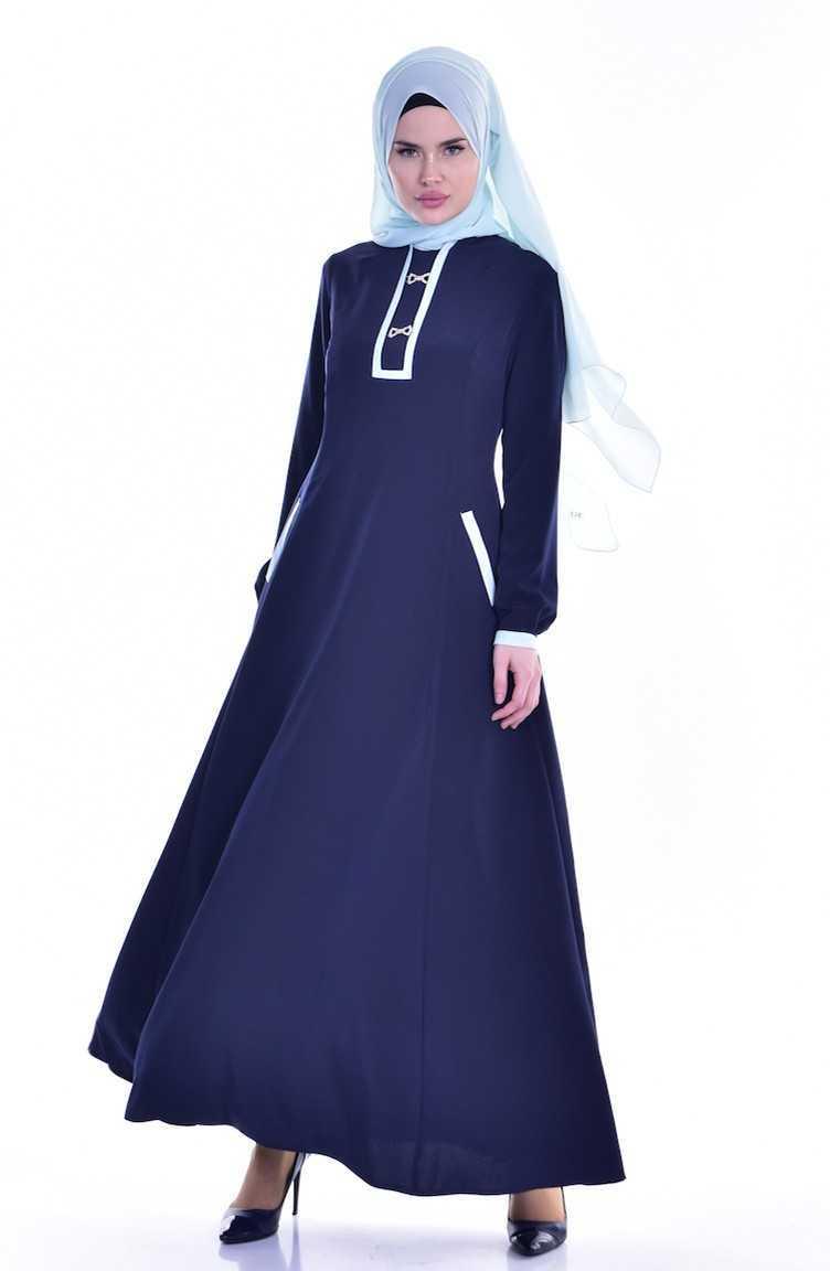 Sefamerve Broşlu Cepli Tesettür Elbise Modelleri
