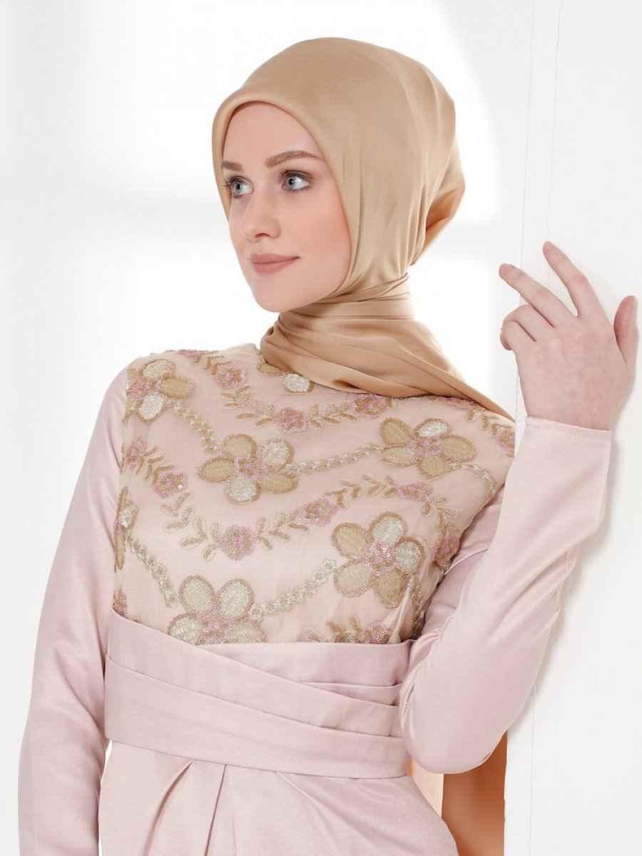 Sefamerve Korsajlı Tesettür Pudra Elbise Modelleri