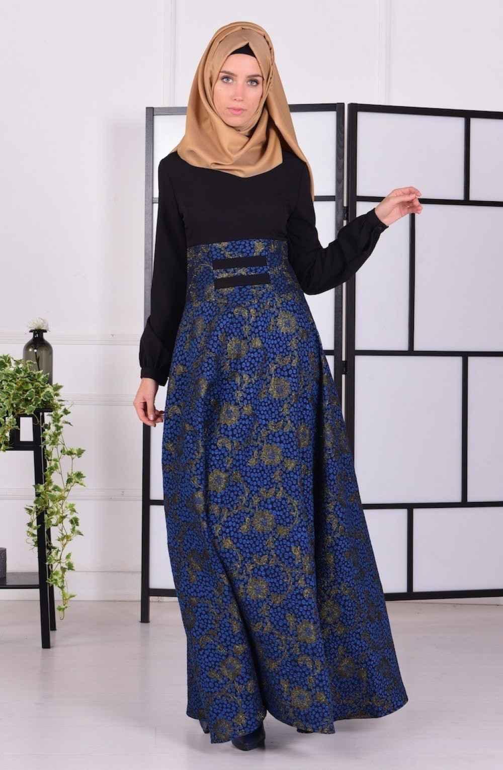 Sefamerve Korsajlı Tesettür Saks Elbise Modelleri
