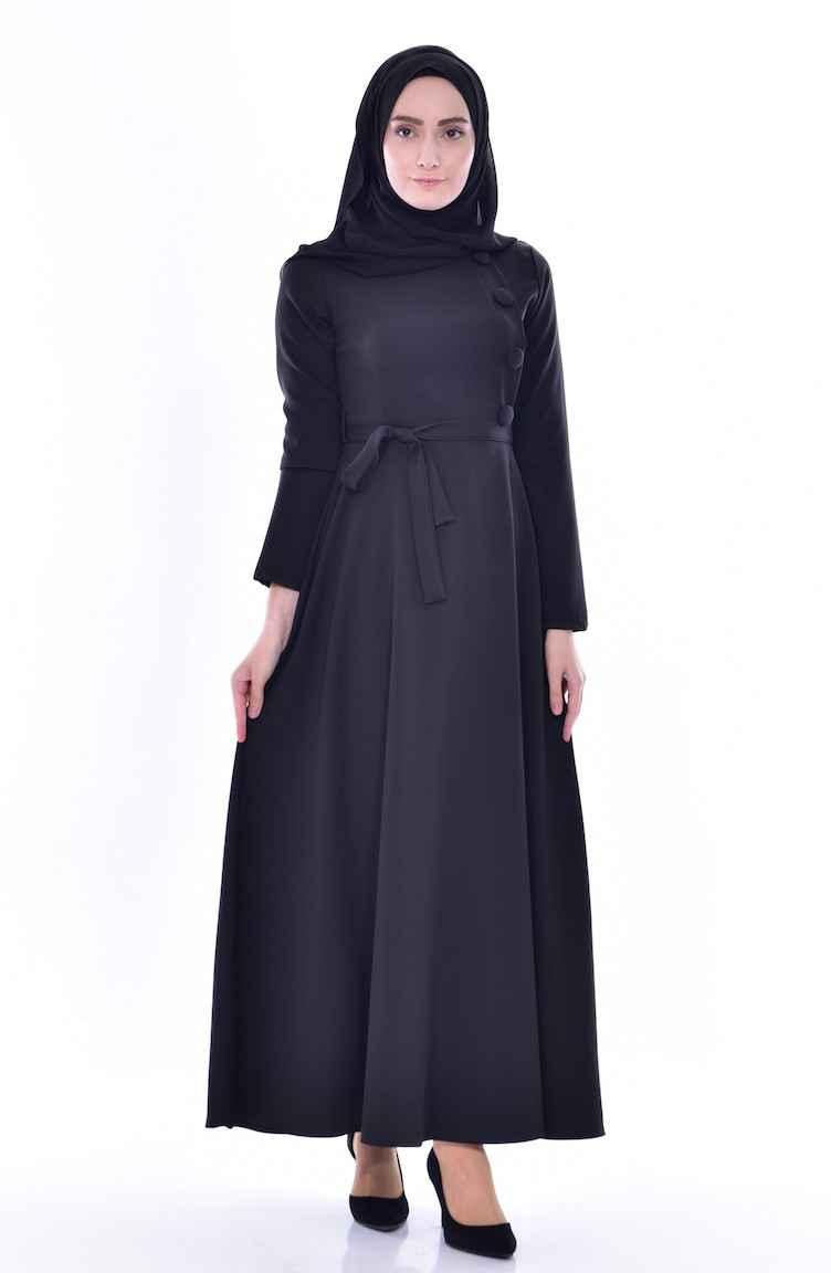 Sefamerve Kuşaklı Tesettür Elbise Modelleri