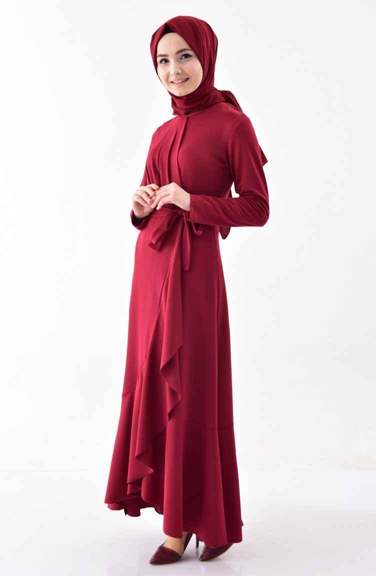 Sefamerve Kuşaklı Volanlı Tesettür Elbise Modelleri