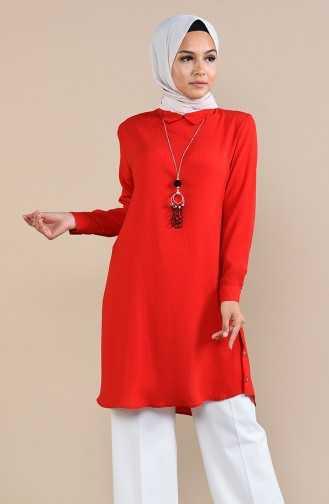 Sefamerve Tesettür Kırmızı Renk Tunik Modelleri