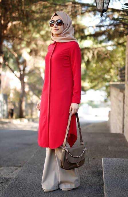 Sefamerve Tesettür Kırmızı Tunik Modelleri