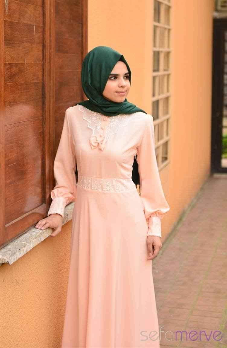 Sefamerve Tesettür Somon Renk Elbise Modası