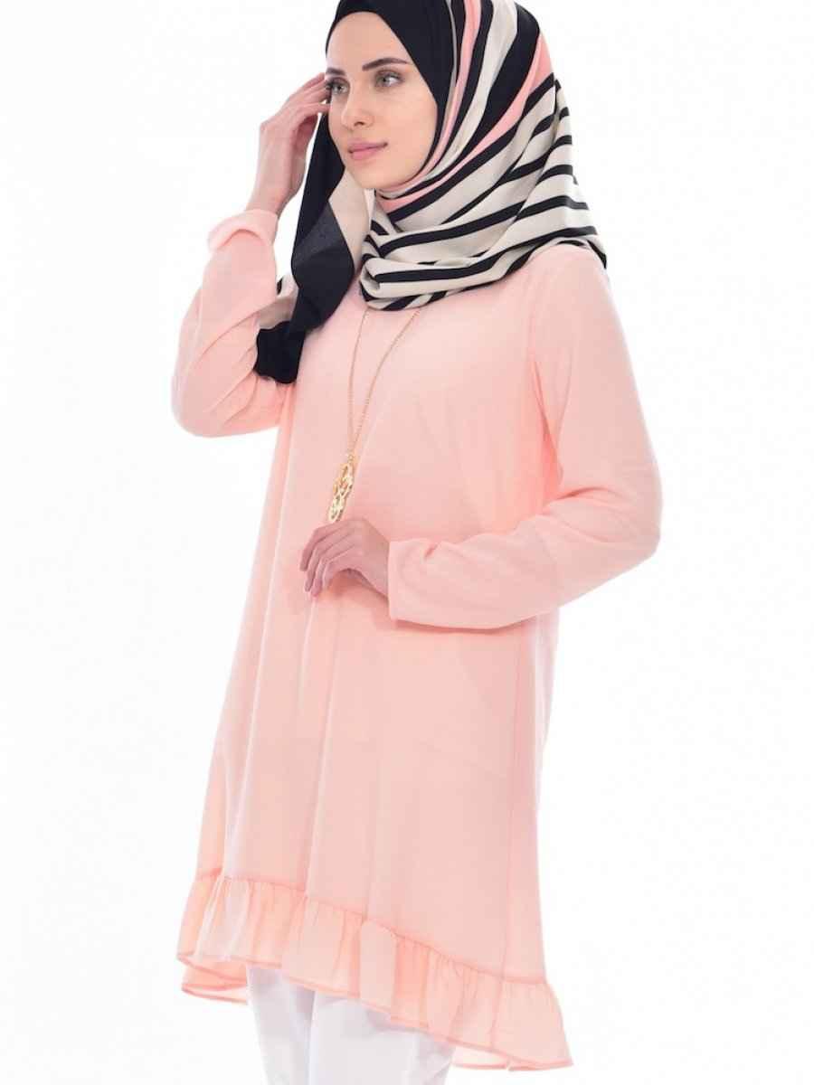 Sefamerve Tesettür Somon Renk Tunik Modası