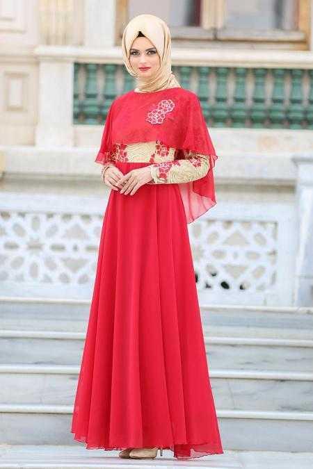 Tesettür İsland Kırmızı Abiye Elbise Modelleri