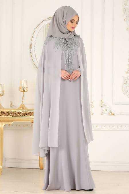 Tesettür İsland Pelerinli İşlemeli Abiye Elbise Modelleri