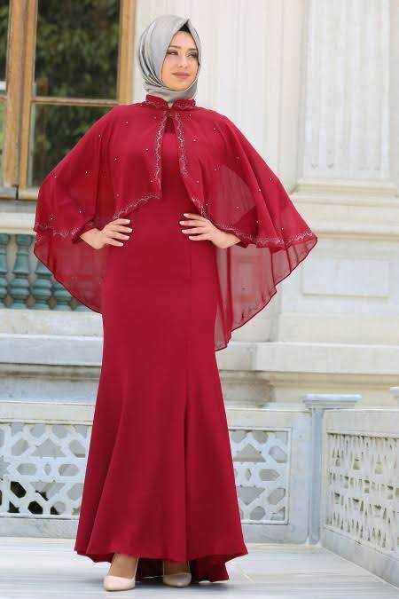 Tesettür İsland Pelerinli Abiye Elbise Modelleri
