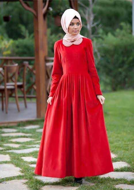 Tesettür Kırmızı Renk Elbise Modelleri