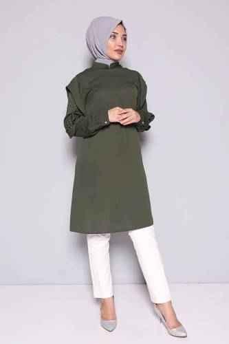 Tesettür Pazarı Kolları Taş İşlemeli Tunik Modelleri