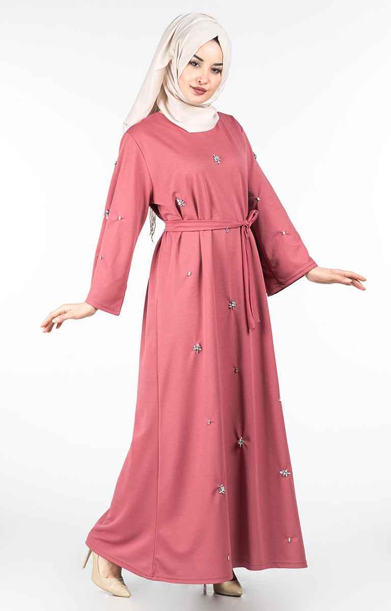 Tesettür Pazarı Kuşaklı Taşlı Elbise Modelleri