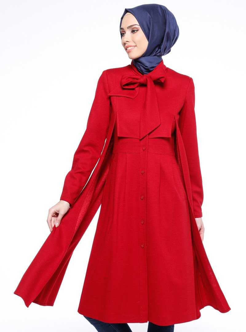 Tuğba Tesettür Kırmızı Kaban Modelleri