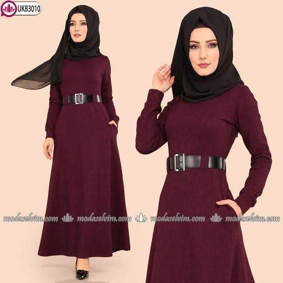 2018-2019 ModaSelvim Sonbahar Kış Tesettür Elbise Modası
