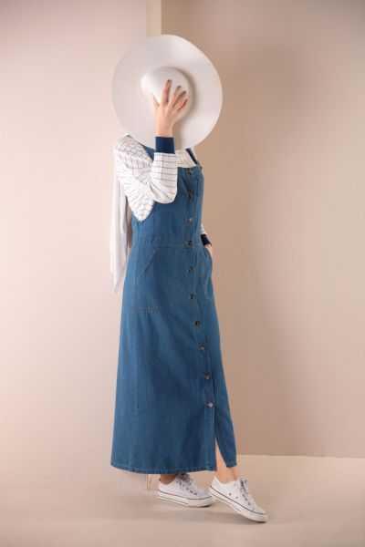 Allday Tesettür Askılı Kot Elbise Modelleri