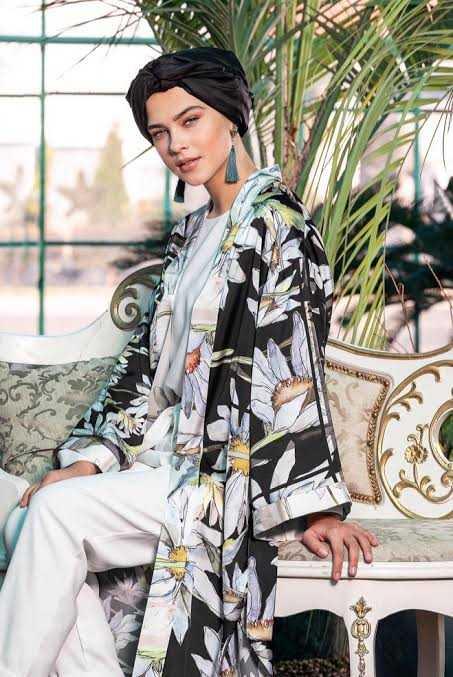 Alvina Desenli Tesettür Uzun Ceket Modelleri