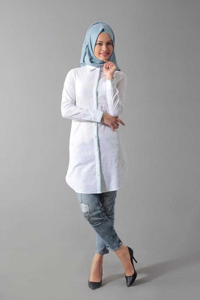 Alvina Tesettür Beyaz Keten Tunik Modelleri