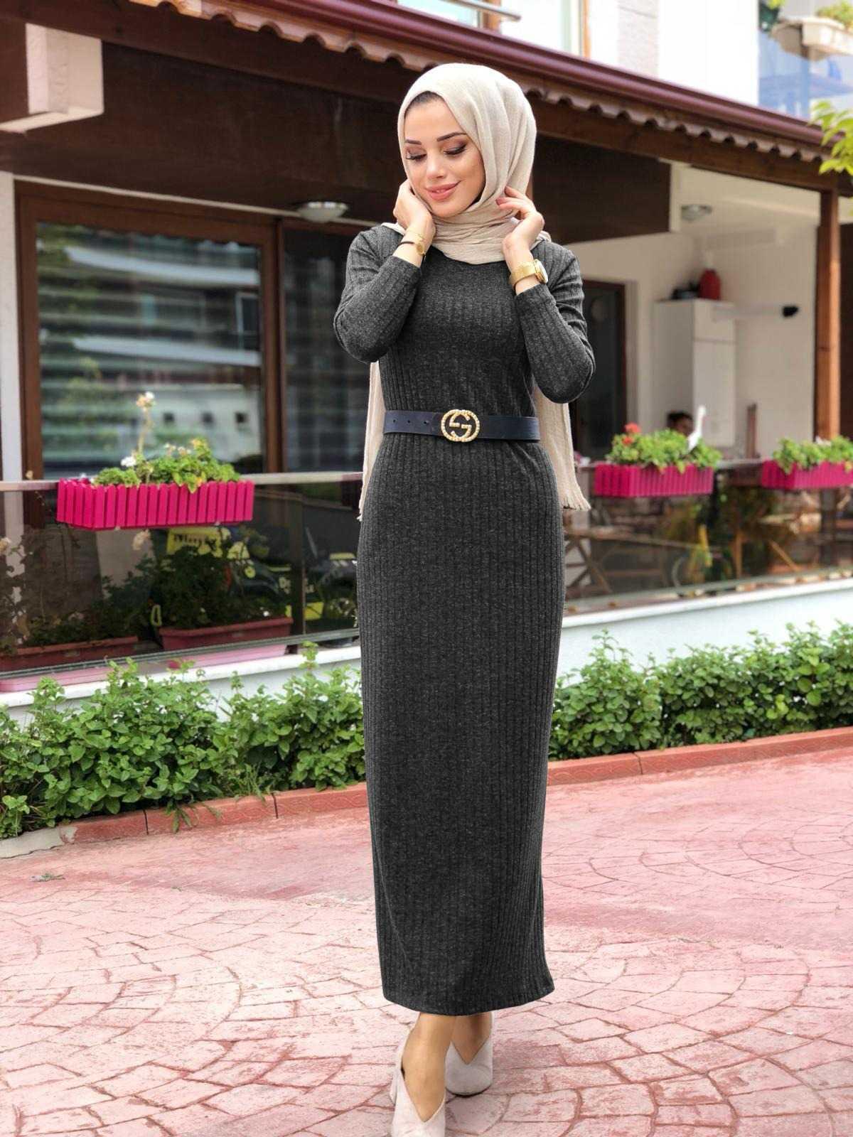 Ay Tesettür Fitilli Elbise Modelleri