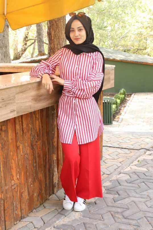 Büşra Okkalı Balon Kol Tesettür Gömlek Modelleri