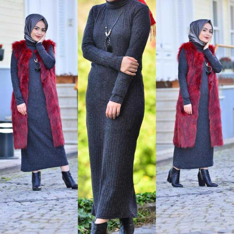 Butikkolikkk Fitilli Tesettür Siyah Elbise Modelleri