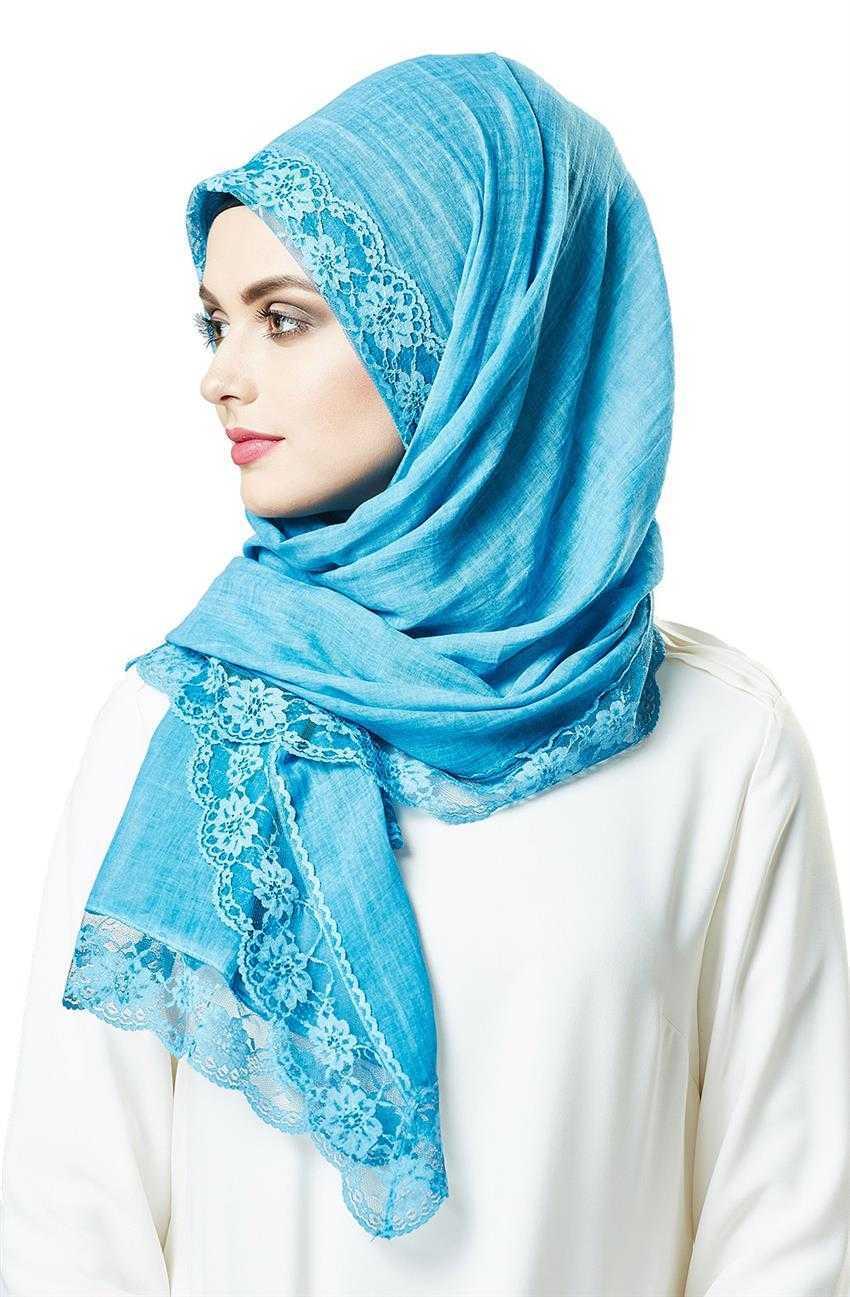 Cachmira Dantelli Mavi Şal Modelleri