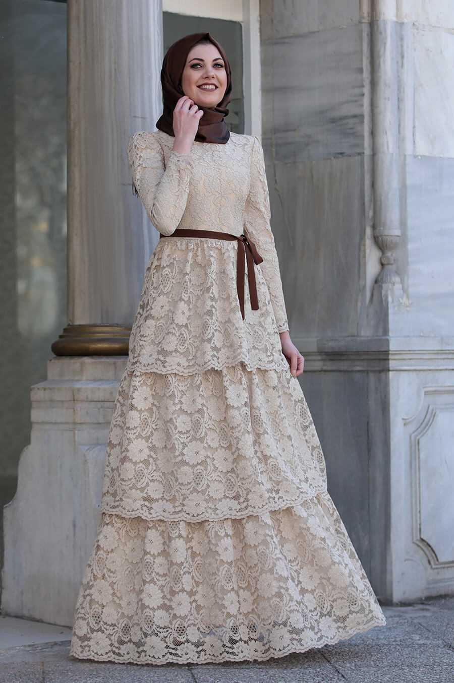 Katlı Tesettür Elbise Modelleri
