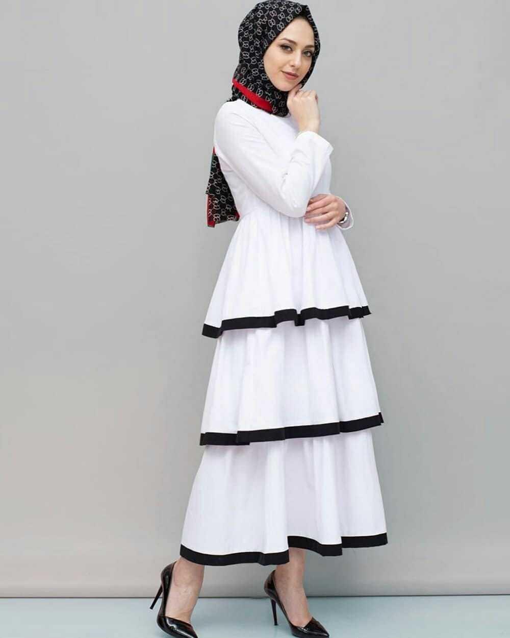 Elfida Katlı Tesettür Elbise Modelleri