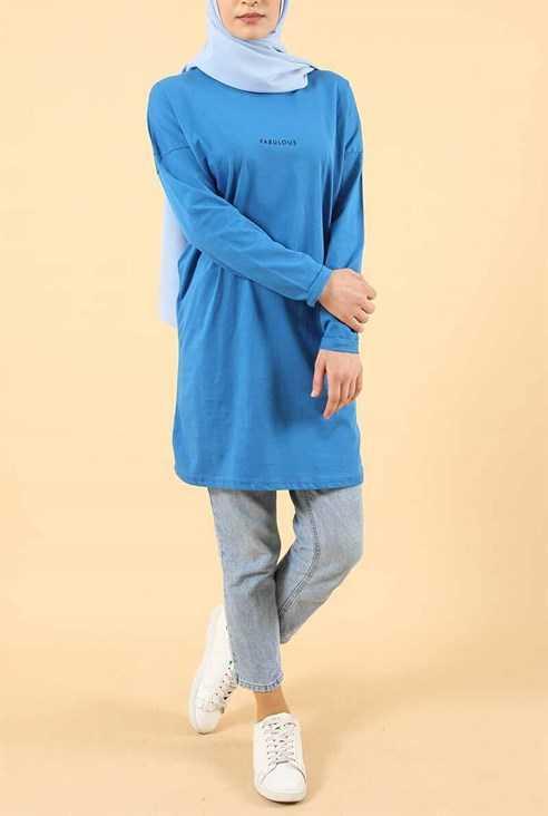Eylül Tesettür Mavi Renk Tesettür Tunik Modelleri