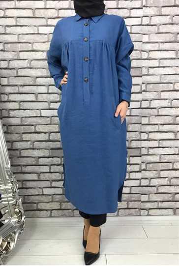 Eylül Tesettür Mavi Renk Tunik Modelleri