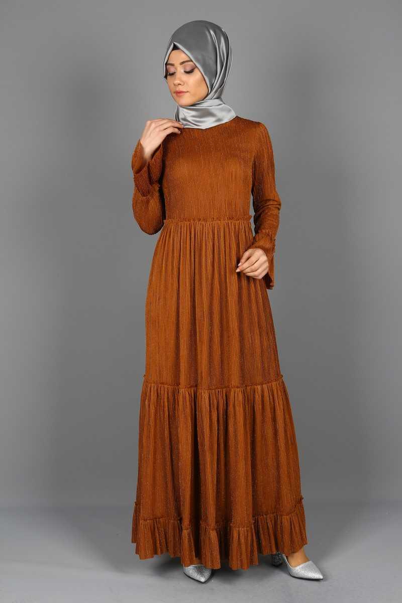 Eymina Katlı Tesettür Elbise Modelleri