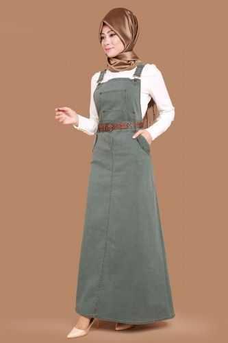 G.M.Z. Tesettür Askılı Kot Elbise Modelleri