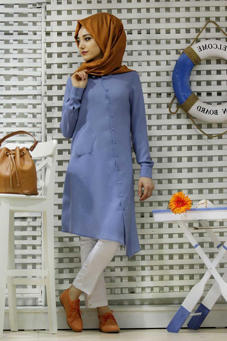 Gamze Polat Mavi Renk Tunik Kombinleri