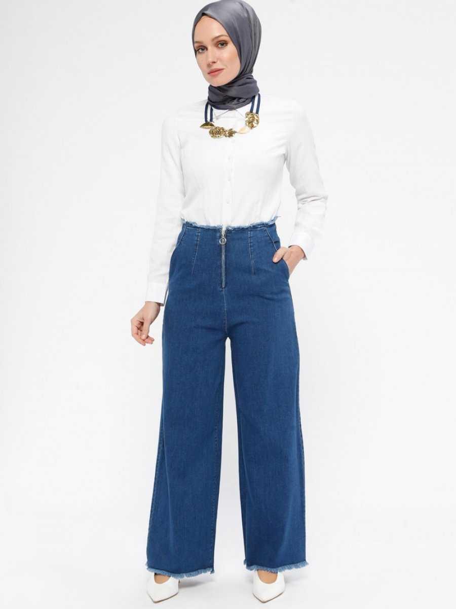 Hüma Sultan Bol Paça Tesettür Pantolon Modelleri