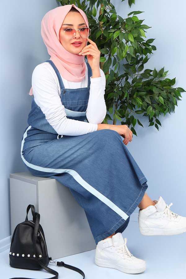 Hatun Tesettür Askılı Kot Elbise Modelleri