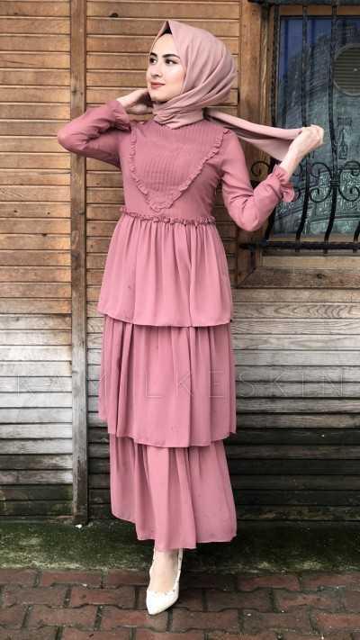 Kamil Keskin Üç Katlı Tesettür Elbise Modelleri