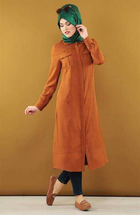 Loreen Tesettür Kiremit Renk Keten Tunik Modelleri