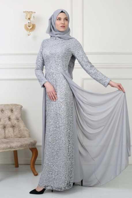 Moda Yaprak Pullu Tesettür Abiye Modelleri