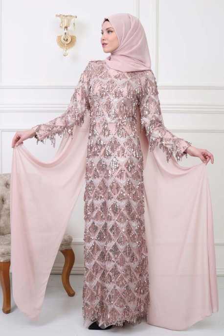 Moda Yaprak Saçaklı Pullu Tesettür Abiye Modelleri