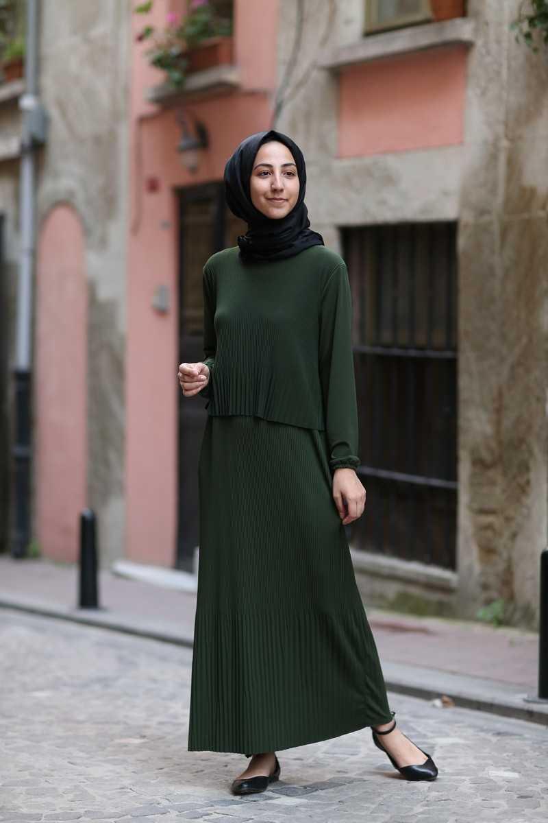 ModaOnur Katlı Tesettür Elbise Modelleri