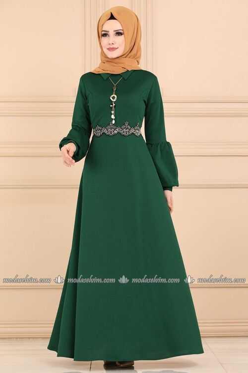 ModaSelvim Sonbahar Kış Tesettür Elbise Modası