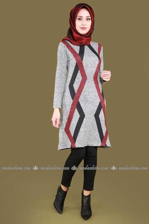 ModaSelvim Sonbahar Kış Tesettür Triko Tunik Modası