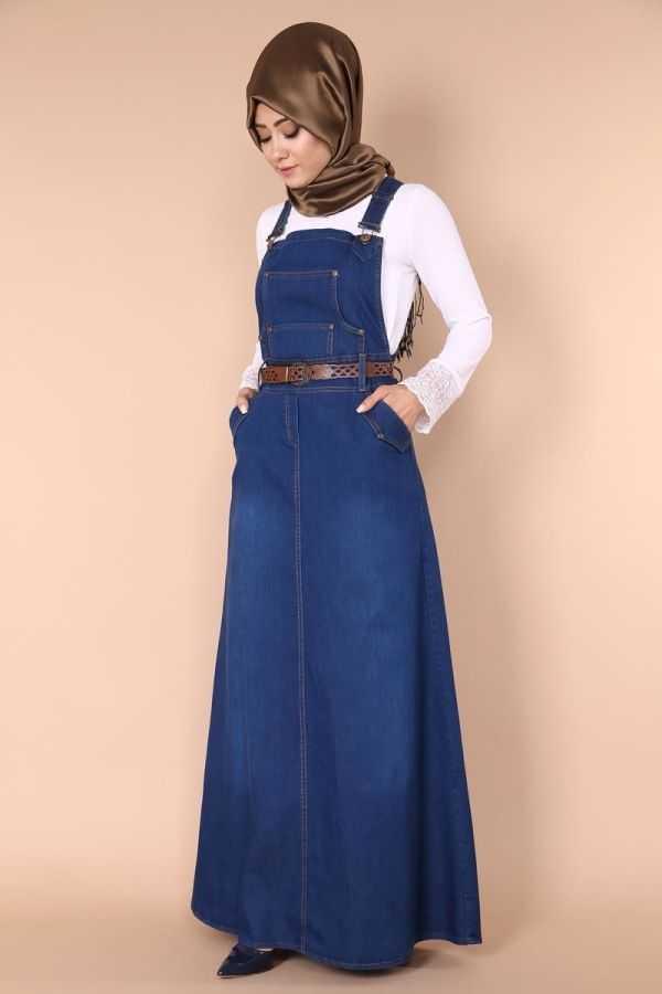 ModaSelvim Tesettür Askılı Kot Elbise Modelleri