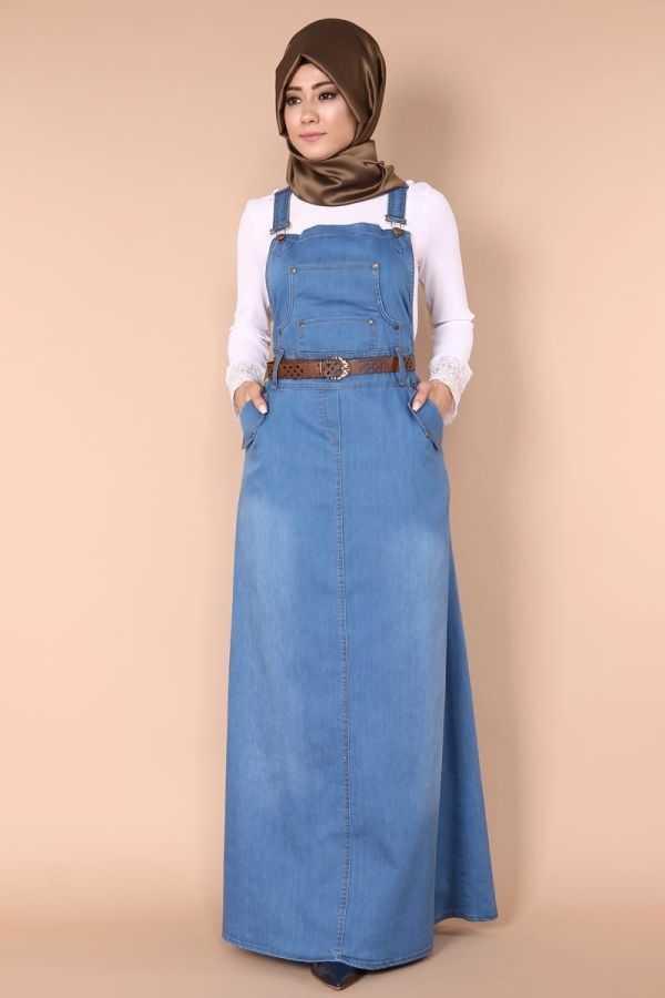 ModaSelvim Tesettür Bahçıvan Kot Elbise Modelleri