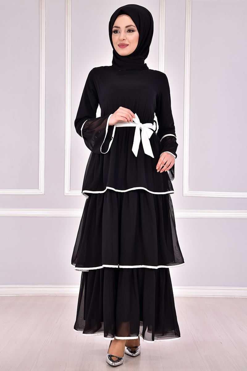 Modamerve Katlı Siyah Tesettür Elbise Modelleri
