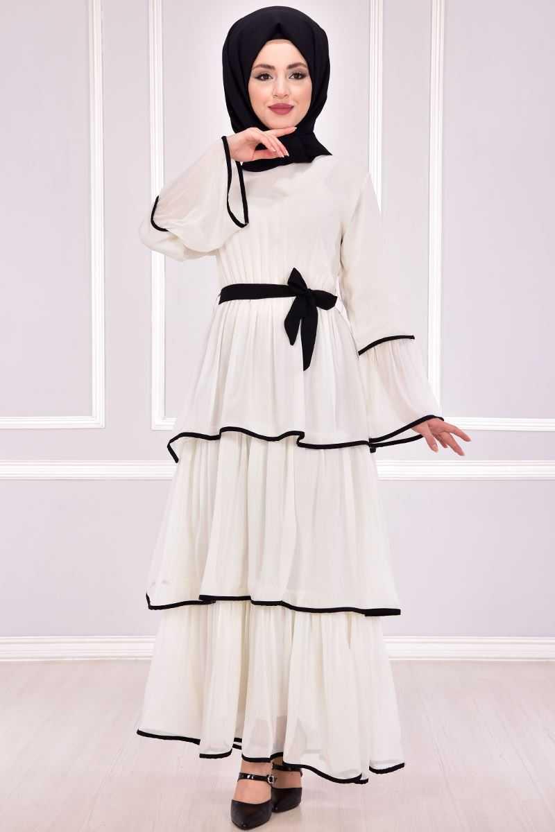 Modamerve Katlı Tesettür Elbise Modelleri