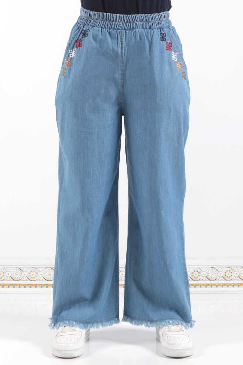 Modasima Bol Paça Tesettür Nakışlı Pantolon Modelleri