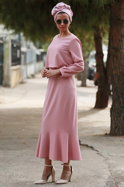 Myzen Katlı Tesettür Elbise Modelleri