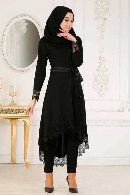 Nayla Collection Dantelli Tesettür Siyah Tunik Modelleri