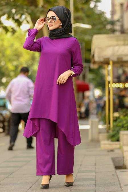 Nayla Collection Mor Tunik Pantolon Takım Modelleri