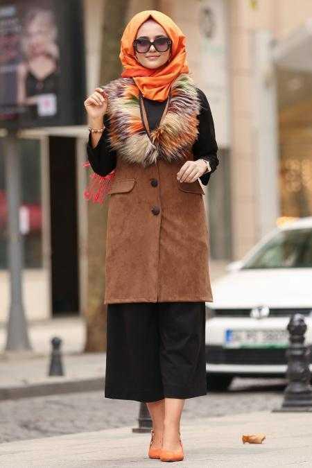 Nayla Collection Tesettür Süet Yelek Modelleri