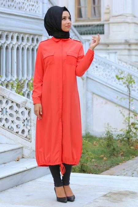 Neva Style Büzgülü Tesettür Uzun Tunik Modelleri